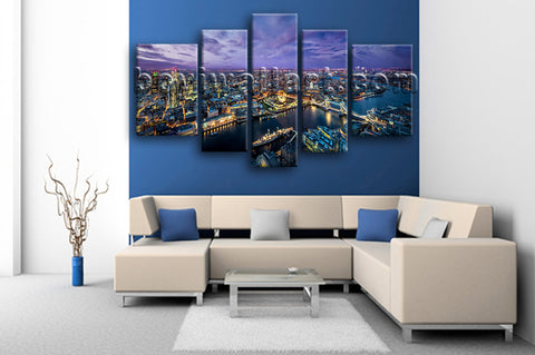Extra Large London Skyline Hd Print Contemporary Painting Living Room 5 Pieces