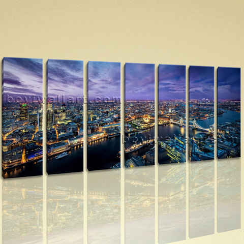 Extra Large London Skyline Hd Print Art Painting Heptaptych Pieces Canvas