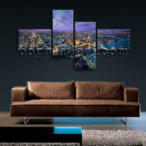 Extra Large London Skyline Hd Print Contemporary Art Painting Bedroom Prints
