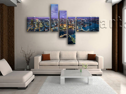 Huge London Skyline Canvas Art Home Decor Living Room Pentaptych Pieces Prints