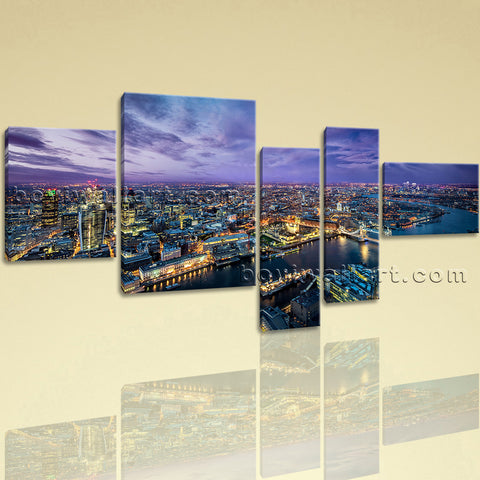 Extra Large London Skyline Wall Art Contemporary Home Decor Five Panels Print