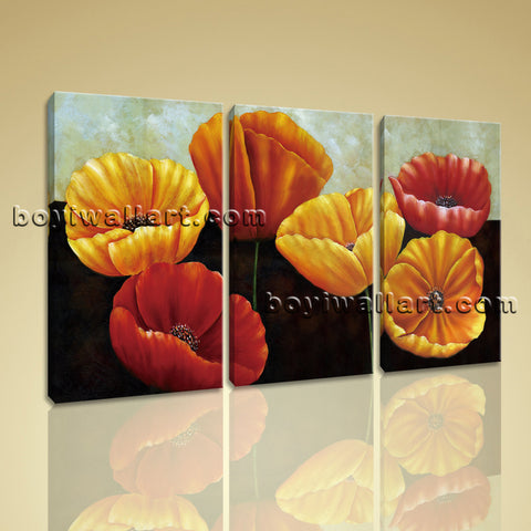 Large Poppy Flowers Painting Classic Bedroom 1 Panels Giclee Prints