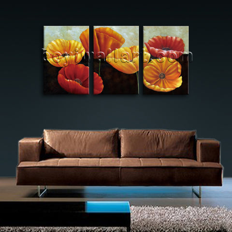 Large Poppy Flowers Print Classic Home Decor Living Room Triptych Panels Art