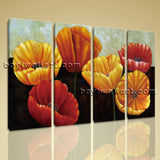 Large Poppy Flowers Print Classic Oil Painting Living Room 4 Panels Canvas