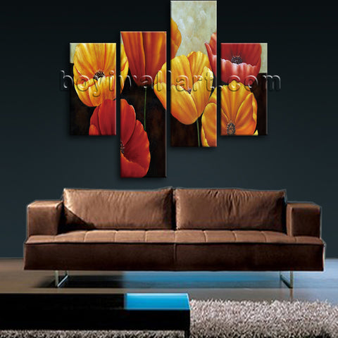 Large Poppy Flowers Print Classic Painting On Canvas Bedroom Four Pieces Prints
