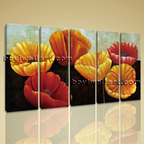 Large Poppy Flowers Hd Print Classic Painting Dining Room Five Pieces Prints