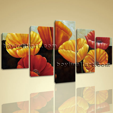 Large Poppy Flowers Hd Print Classic Wall Art Dining Room Five Panels Prints