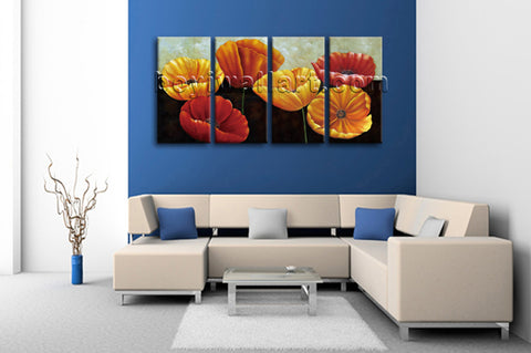 Large Poppy Flowers Picture Classic Canvas Art Bedroom 4 Pieces Giclee Prints