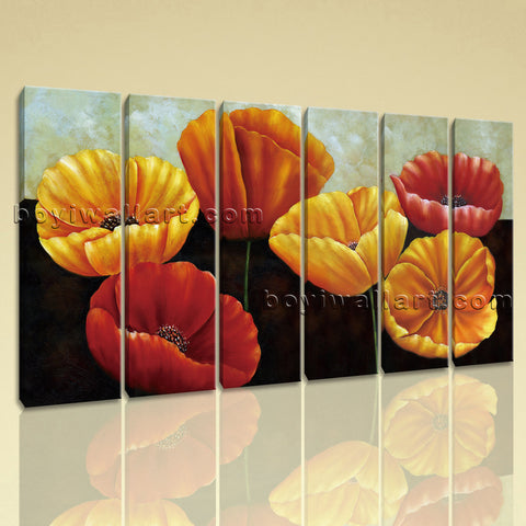 Large Poppy Flowers Wall Decor Classic Painting Living Room Print