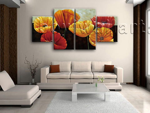 Large Poppy Flowers Picture Classic Painting On Canvas Dining Room Print