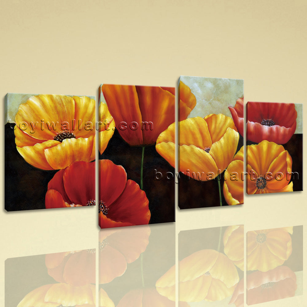 Large Poppy Flowers Hd Print Classic Painting Living Room Four Panels Prints