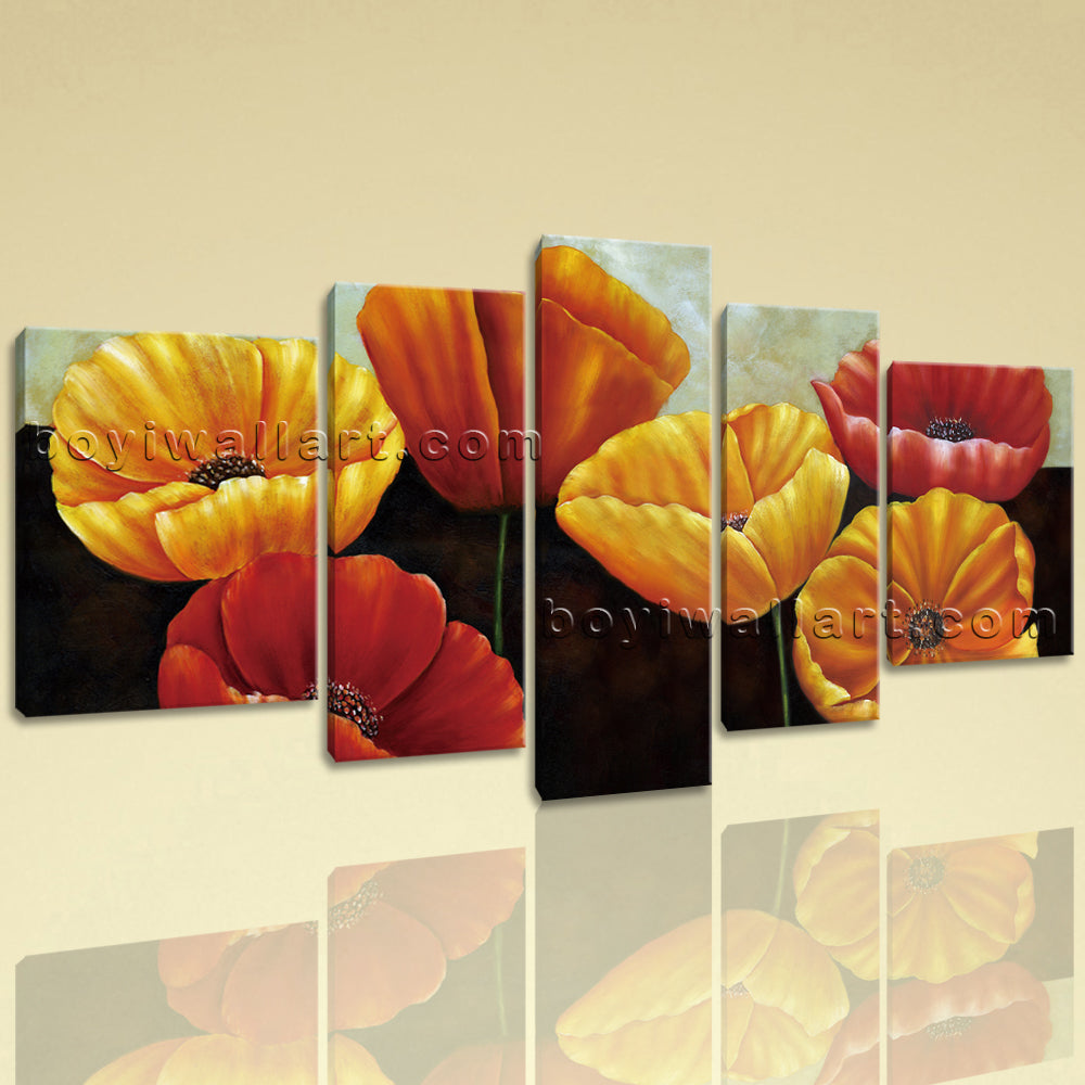 Extra Large Poppy Flowers Wall Art Classic Canvas Living Room Five Panels Print