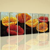 Extra Large Poppy Flowers Wall Decor Classic Art Painting 7 Panels Prints