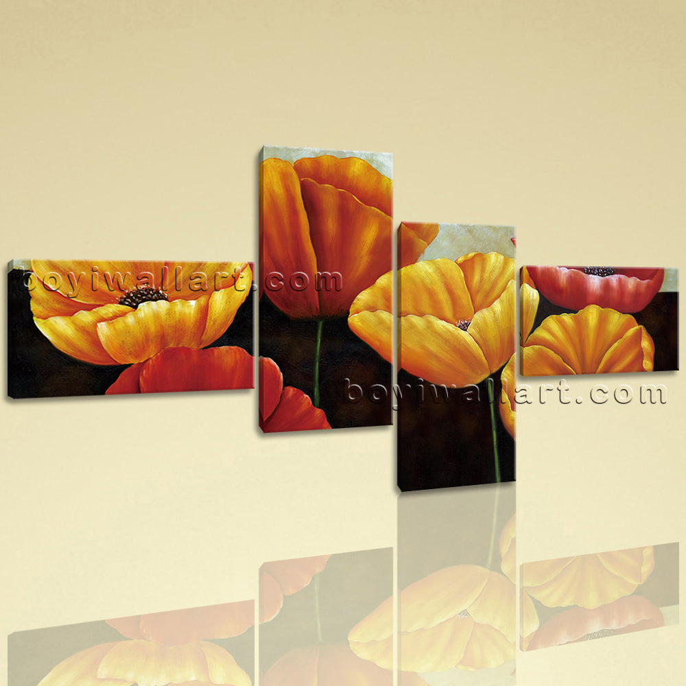 Extra Large Poppy Flowers Picture Classic Painting On Canvas 4 Pieces Print