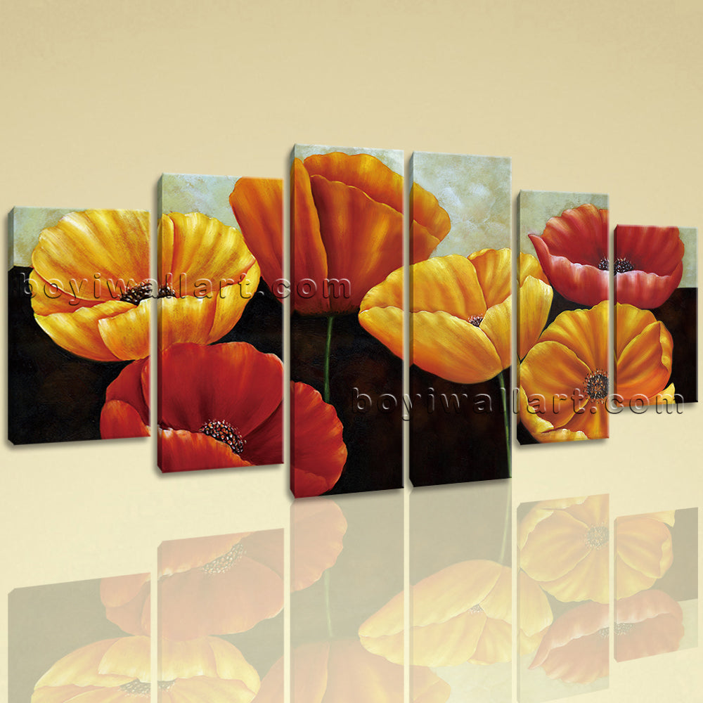 Extra Large Poppy Flowers Canvas Art Classic Wall Decor Dining Room Print
