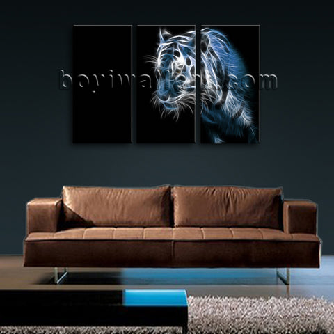 Large Tiger Painting Print Modern Wall Decor Bedroom Three Pieces Giclee