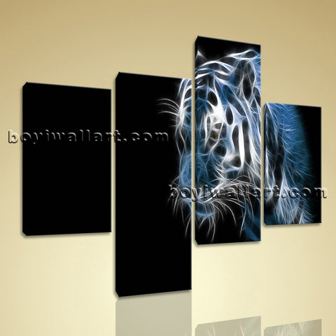 Large Tiger Painting Wall Decor Modern Home Bedroom 4 Panels Art Print