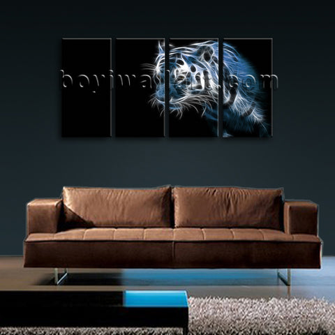 Large Tiger Painting Hd Print Modern On Canvas Bedroom Four Panels Giclee Prints