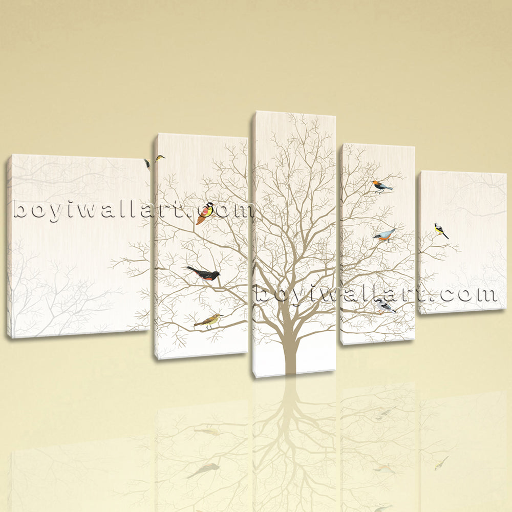 Extra Large Black And White Tree Painting Wall Art Living Room 5 Pieces Prints