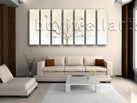 Extra Large Black And White Tree Print Painting Living Room 7 Pieces Prints