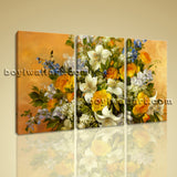 Large Yellow Rose Painting Flower Print Impressionist Oil Three Panels Canvas