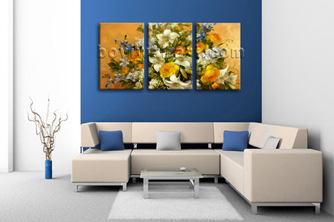 Large Yellow Rose Painting Flower Hd Print Impressionist Wall Art 3 Panels