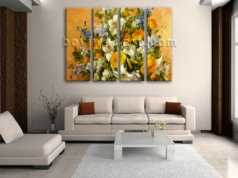 Large Yellow Rose Painting Flower Print Impressionist Art 4 Panels Prints