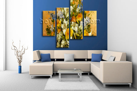 Large Yellow Rose Painting Flower Canvas Art Impressionist Home Decor Print