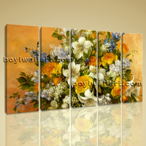 Large Yellow Rose Painting Flower Wall Decor Impressionist Dining Room Prints