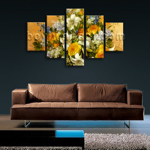 Large Yellow Rose Painting Flower Wall Art Impressionist Dining Room Print