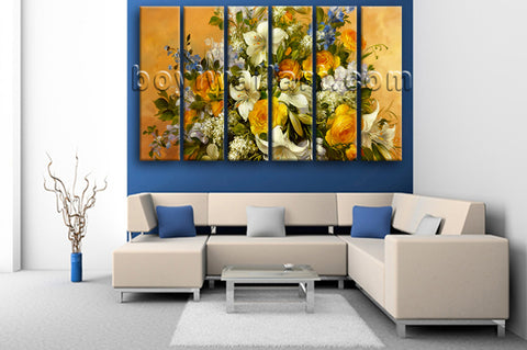 Large Yellow Rose Painting Flower Impressionist Home Decor Canvas Print
