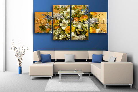 Large Yellow Rose Painting Flower Print Impressionist Dining Room 4 Panels Art