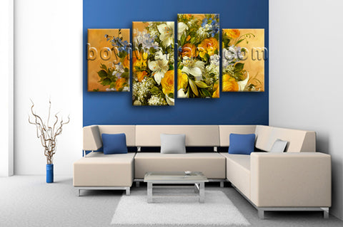 Large Yellow Rose Painting Flower Wall Decor Impressionist Art Living Room Print
