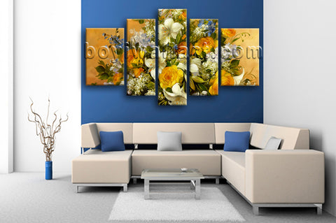 Extra Large Yellow Rose Painting Flower Print Impressionist Canvas Art Prints