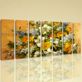 Extra Large Yellow Rose Painting Flower Wall Art Impressionist 7 Panels Print