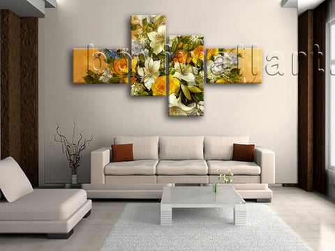 Extra Large Yellow Rose Painting Flower Canvas Art Wall Decor Print