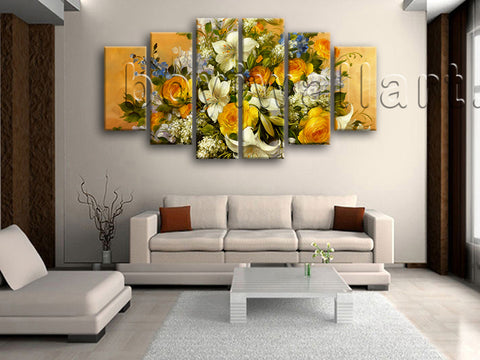 Extra Large Yellow Rose Painting Flower Wall Decor Impressionist Prints