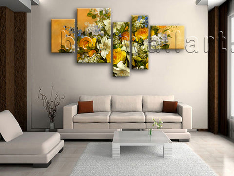 Extra Large Yellow Rose Painting Flower Wall Decor Impressionist Oil Print