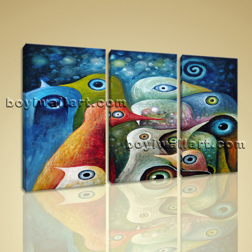 Large Abstract Birds Canvas Art Home Decor Bedroom Three Panels Print