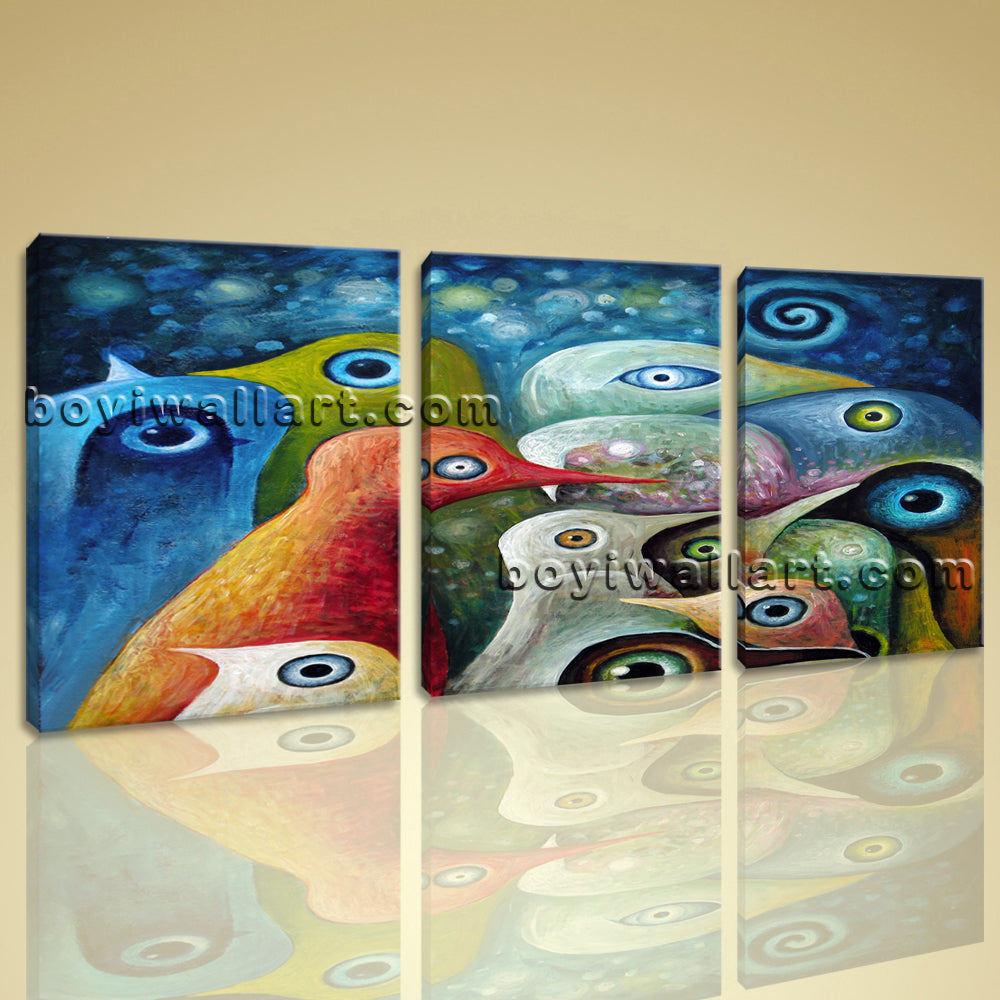 Large Abstract Birds Painting Oil Living Room Triptych Pieces Print
