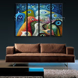 Large Abstract Birds Canvas Art Living Room Tetraptych Pieces Prints
