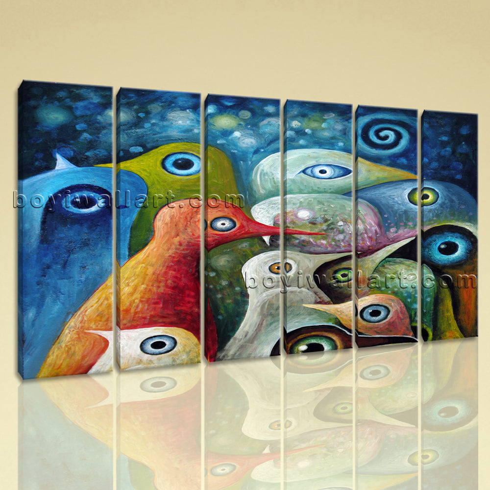 Large Abstract Birds Wall Art Living Room 6 Panels Giclee Prints