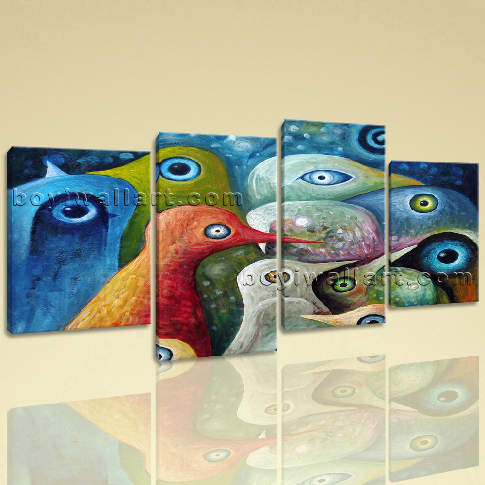 Large Abstract Birds Wall Decor Painting Living Room Four Pieces Art Print