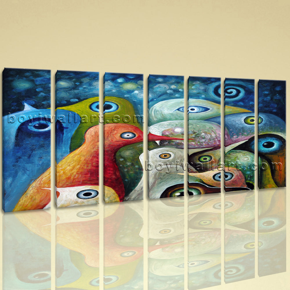 Extra Large Abstract Birds Hd Print Art Painting Heptaptych Pieces Giclee