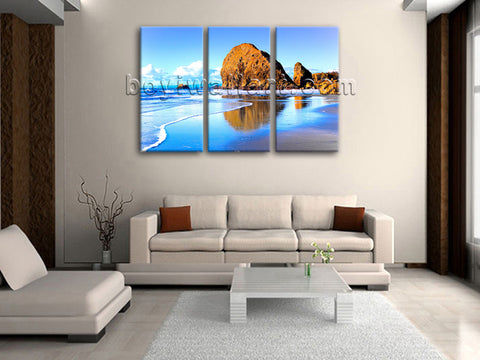 Large Nature Landscape Beac Hbeach Canvas Art Oil Painting Triptych Panels Print
