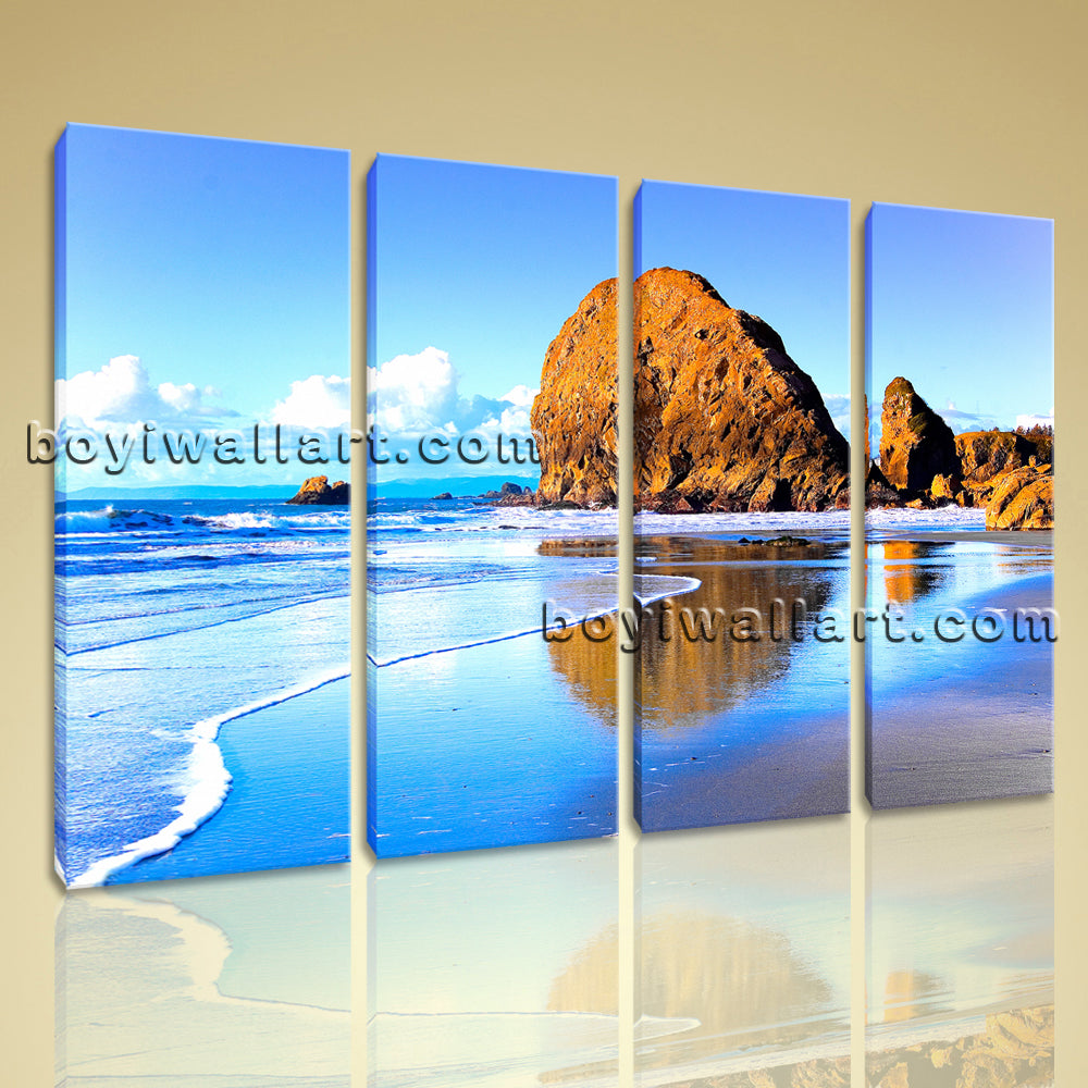 Large Nature Landscape Beac Hbeach Picture Home Decor 4 Pieces Art Print
