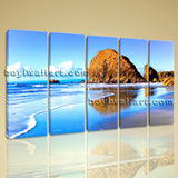 Large Nature Landscape Beac Hbeach Print Painting Canvas Dining Room Five Panels