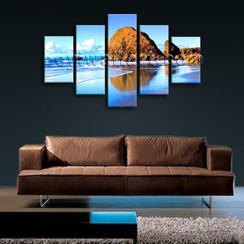 Large Nature Landscape Beac Hbeach Painting Art Dining Room Five Panels Print