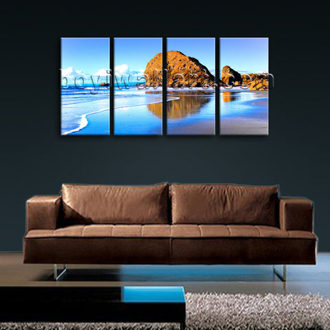 Large Nature Landscape Beac Hbeach Canvas Art Wall Tetraptych Panels Print