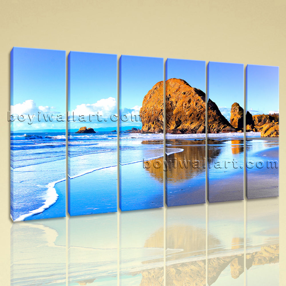 Large Nature Landscape Beac Hbeach Painting Living Room 6 Pieces Prints